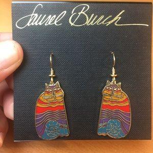 NWT Laurel Burch Rainbow Cat Earrings